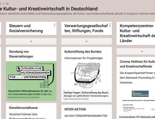 ÜBERSICHT SOFORTHILFEN FÜR DIE KULTUR- UND KREATIVWIRTSCHAFT